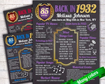 Personalized 85th Birthday Chalkboard Poster Sign, Birthday Poster, 85 Years Ago Back in 1932 USA Events, Gift, Color Customizable - P120