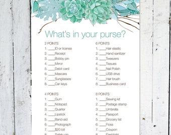 Whats in your purse game, baby shower game, turquoise, bridal shower, floral, branches, instant download