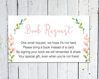 Book Request Insert, Pink, Floral, Greenery, Bring A Book Instead Of A Card, Girl, Printable, Instant Download, Books For Baby