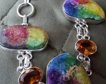 Rainbow Solar Quartz and Honey Quartz Bracelet - 9 inches!