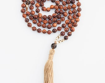 Grounded Earth Mama Mala, Smoky Quartz, Black Rosewood, meditation jewelry, yoga jewelry, gemstone mala, mala beads, prayer beads, healing