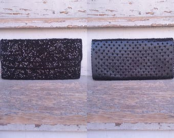 Black Beaded & Sequined Walborg Clutch 1960s Evening Bag Satin