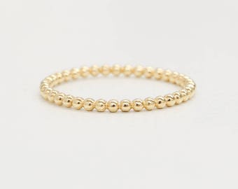 Gold Beaded Ring, 14k Solid Gold Ring, Tiny Dot Ring, Dotted Ring, Gold Beaded Ring, Gold Stackable Ring, Knuckle Ring, Gold Midi Ring