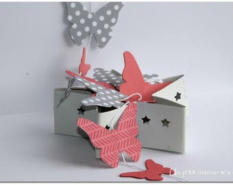 Pink paper Butterfly Garland / grey polka dot Interior