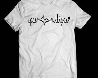 Upper michigan shirt, white, UP shirt, tshirt