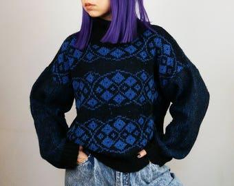 Vintage 80's Cowl Neck Turtleneck Mohair Blend Patterned Jumper / Sweater / Pullover | Size S-M
