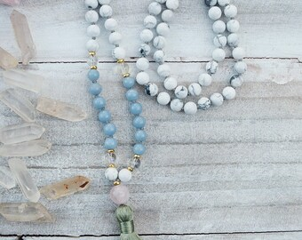 Angelite Mala, Howlite Mala, Rose Quartz Mala, Meditation Mala, Tassel Mala, Mala Beads, Shanti Jewelry, Yoga Mala, Boho Tassel Necklace