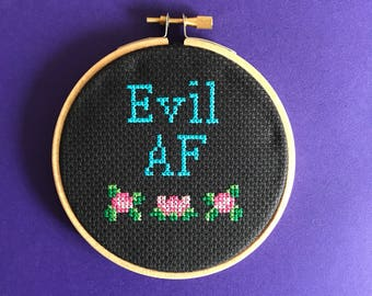 Printable PDF pattern - Evil AF cross stitch pattern - DIY gift - easy xstitch pattern - modern pattern - simple stitch