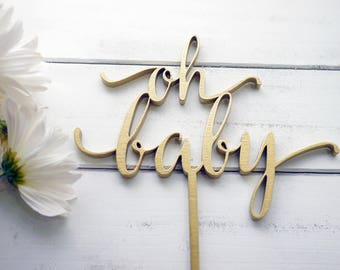 Oh Baby Cake Topper | Laser Cut Wood | Baby Shower Cake Topper | Baby Shower Decor