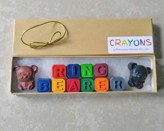 Ring bearer gift - Kids wedding favor - Gift for ring bearer - Kids crayons - Will you be my ring bearer - kids wedding gift