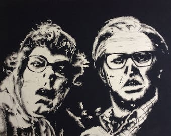Edward and Tubbs (League of Gentlemen) Linoprint A3 Limited Run of 10.