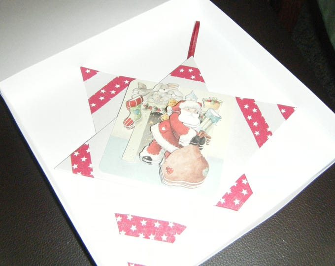 Handmade Decoupage Star Christmas Card