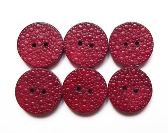 6 vintage Red China 18 mm wooden buttons