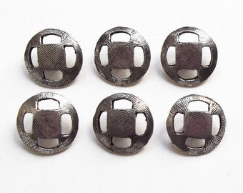 vintage silver plated 17 mm 6 buttons / quality