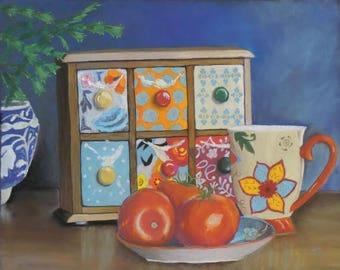 Tomatoes original pastel still life painting