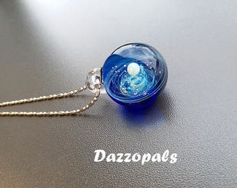 Glass Marble, Fumed Cosmic Galaxy, White Opal, Space Junk , Marble glass Pendant 925 sterling silver D17