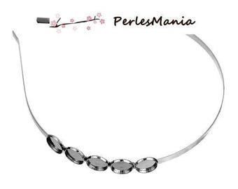 SUPPORT 1 HEADBAND for 5 cabochons 12mm silver plate S1184272