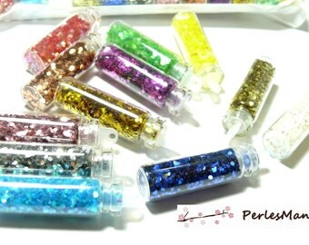 12 mini jars containing rhinestones glass tube, glitter. PR161