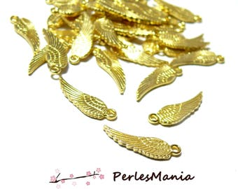 Pendants 17 mm S1183444 gold colored metal feathers