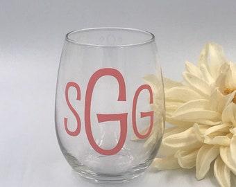 Personalized Wine Glass  Stemless Wine Glass  Bridesmaid Gift  Monogram Wine Glass  Hostess Gift  Custom Wine Glass