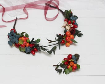 Berry floral crown Wedding accessories Boutonniere Bridal headband Berry hair wreath Fall wedding Floral headpiece Bridal flowers Bridesmaid