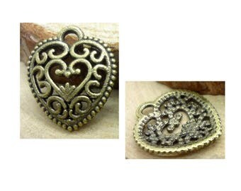 set of 5 charms bronze metal hearts antique 17 mm x 15 mm