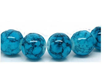 Set of 12 black 10 mm marbled turquoise blue glass beads