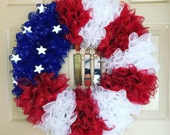 USA Wreath, Patriotic Wreath, 4th of July Wreath, Americana Wreath, Stars and Stripes Wreath, America Wreath, Porch Wreath, American Flag