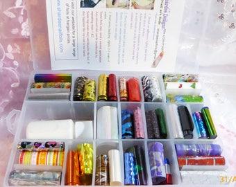 Tropical nail art transfer foil kit, 36 foils x 1 meter each, 1 meter glass nail stickers & 30ml adhesive