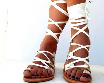 Gladiator, Leather Sandals, 'Amara' Ivory and gold lace up Sandals, Greek Sandal, handmade Genuine leather shoes, Bridal sandals