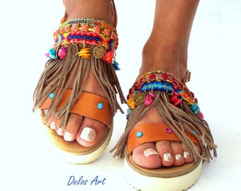 Boho Sandals, leather sandals, summer shoes, Handmade Sandals, Greek Sandals, brown sandals,  hippie sandals, Bohemian sandals