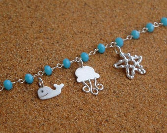 Turquoise silver necklace, Rosary Necklace, Chain rosario necklace, Starfish necklace, Jellyfish necklace Silver women necklace Gift for her