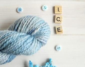 Hand dyed chunky yarn - Ice Dragon themed yarn - hand painted yarn - geek yarn - indie dyed yarn - multi tonal yarn - quick yarn