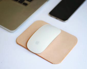 Natural Leather Mousepad~Travel Mouse Pad~Minimalist Leather Pad~Small Mouse Pad