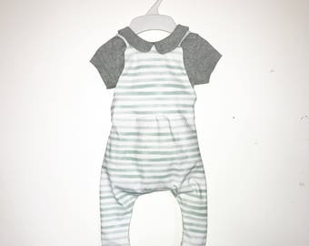 Tight fitted striped baby boy romper