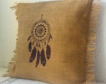 Burlap pillow cover, fringes and dream catcher 40 x 40