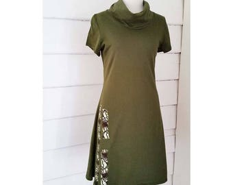 Women's Dress Jersey Cotton Dress Olive Jersey Cotton Dress Olive Jersey Ausralian Made Jersey Olive Dress Cowl Neck Dress Small Olive Dress