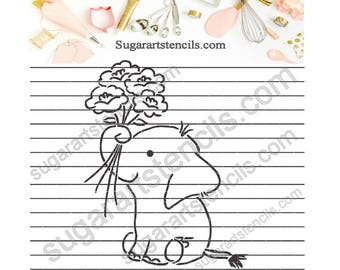 PYO Cookie stencil paint your own cookie  elephant flower bouquet decorating   NB70007