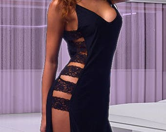Hot Sexy Black  Long Gown With Side Lace Trim Evening Dresses