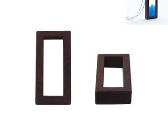 """Support """"Rectangle"""" sandalwood for creating pendant in resin"""