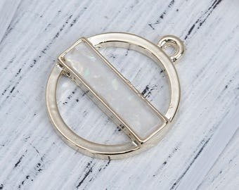 3 pendants in the shape of round gold & Imitation Opal 2.4 cm