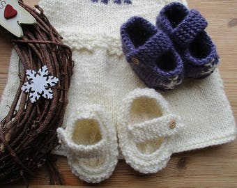 Knitted Baby Girl Booties, Cute Booties,  Mary Jane shoes, Baby Shower gift, Newborn baby,  knit baby alpaca, all wool, snowflake, handmade