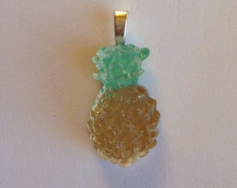 Resin green and gold pineapple pendant