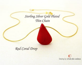 Gold Chain Coral necklace, Dainty Red Coral necklace, Silver chain necklace, Layered necklace, Minimalist necklace