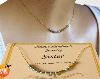 Sister Morse Code Necklace, Sterling Silver or 18K Gold Filled Chain, Personalized Secret code necklace, Sister Gift, Sister In Law gift