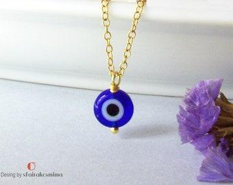Evil Eye Necklace, Simple Evil Eye, Sterling Silver Eye, Gold Evil Eye, Protection Pendant, Turkish Evil Eye, Blue Evil Eye Necklace