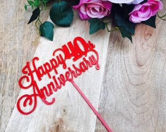 Happy 40th Anniversary Cake Topper Anniversary Cake Toppers Cake Decoration Cake Decorating Wedding Anniversary Cake Wedding Anniversary LVD