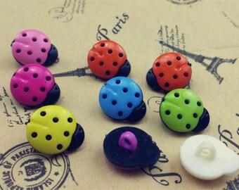 10 buttons acrylic shaped Ladybug 15x14mm
