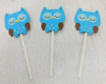 Owl Cupcake Toppers, Blue Owl Cupcake Toppers, Wildlife Party, Woodland Birthday, Owl Birthday, Baby Shower