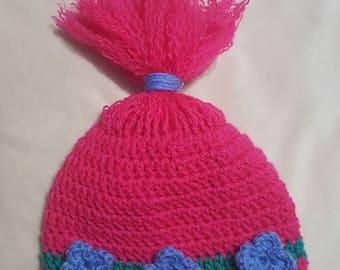 Trolls inspired Poppy crocheted hat